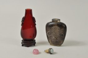 Two Chinese Carved Snuff Bottles