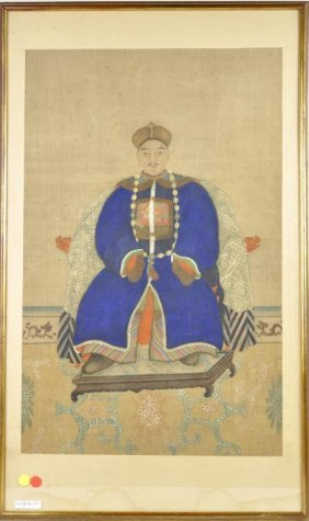 Chinese Ancestral Portrait, Pigments On Silk