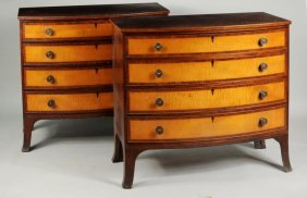 Pair Portsmouth Style Federal Bow Front Chests