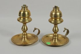 Pair Brass Double Burner Whale Oil Lamps