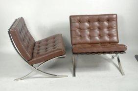 Pair Knoll Mies Van Der Rohe Barcelona Chairs