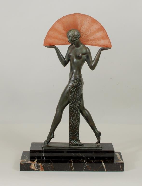 "Max Le Verrier ""Espagna A L'Eventail"" 1925 Lamp"