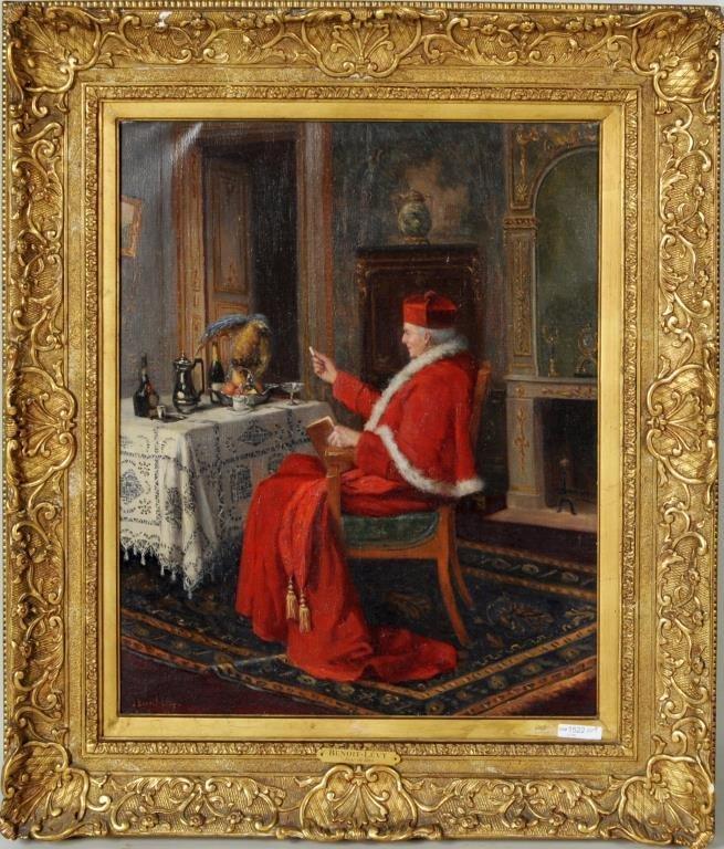 """Jules Benoit-Levy """"Cardinal And Parrot"""" O/C"""