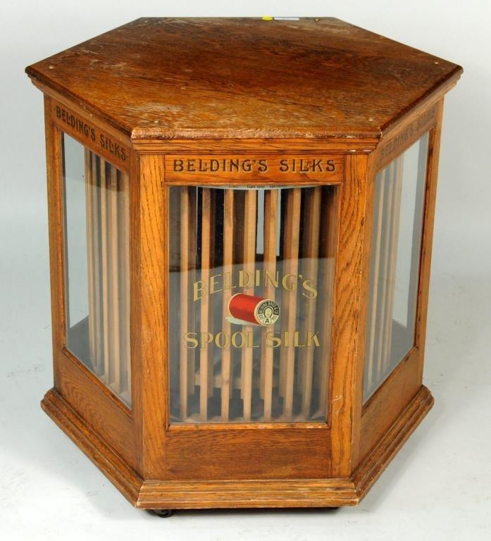 Belden Oak Hexagonal Silks Spool Cabinet