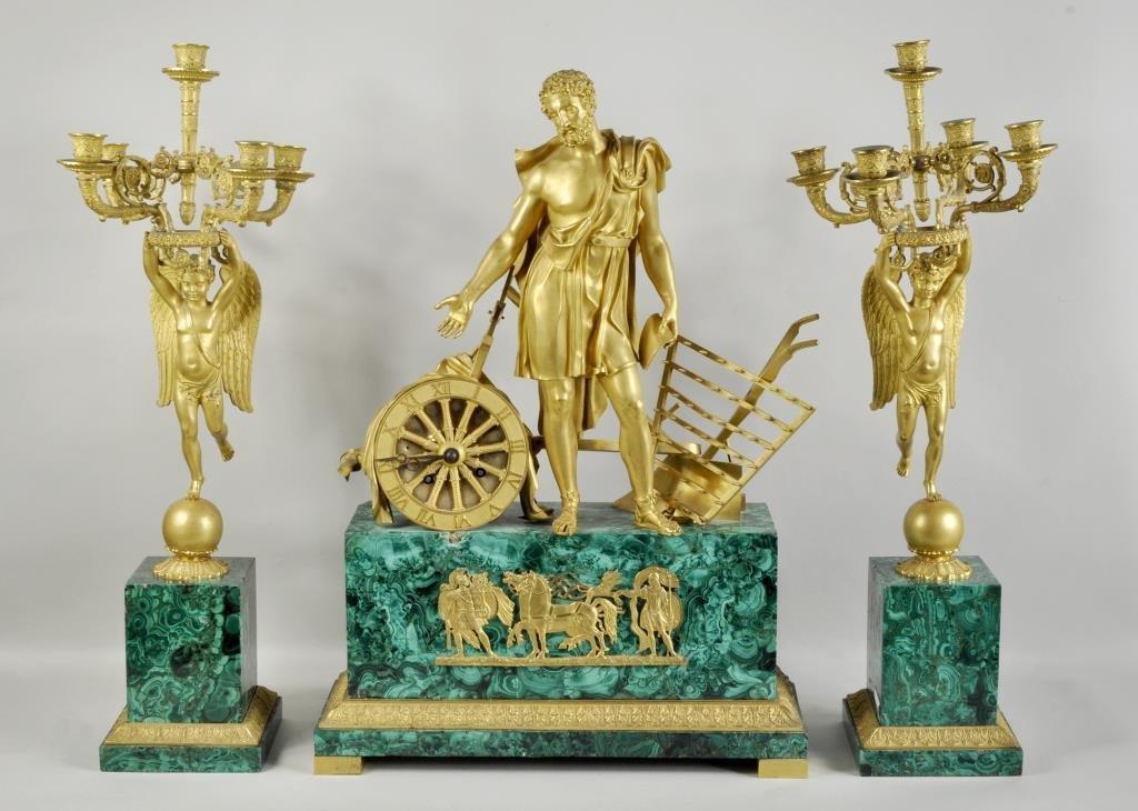 Malachite & Bronze Three Piece Clock Garniture