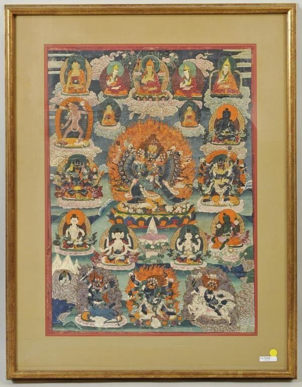 Tibetan Thangka Depicting Vajrapani & Deities