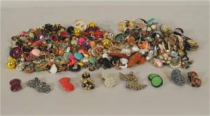 Large Group of Costume Jewelry Earrings
