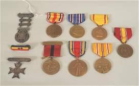 Ten WW II Medals Two Sterling Silver