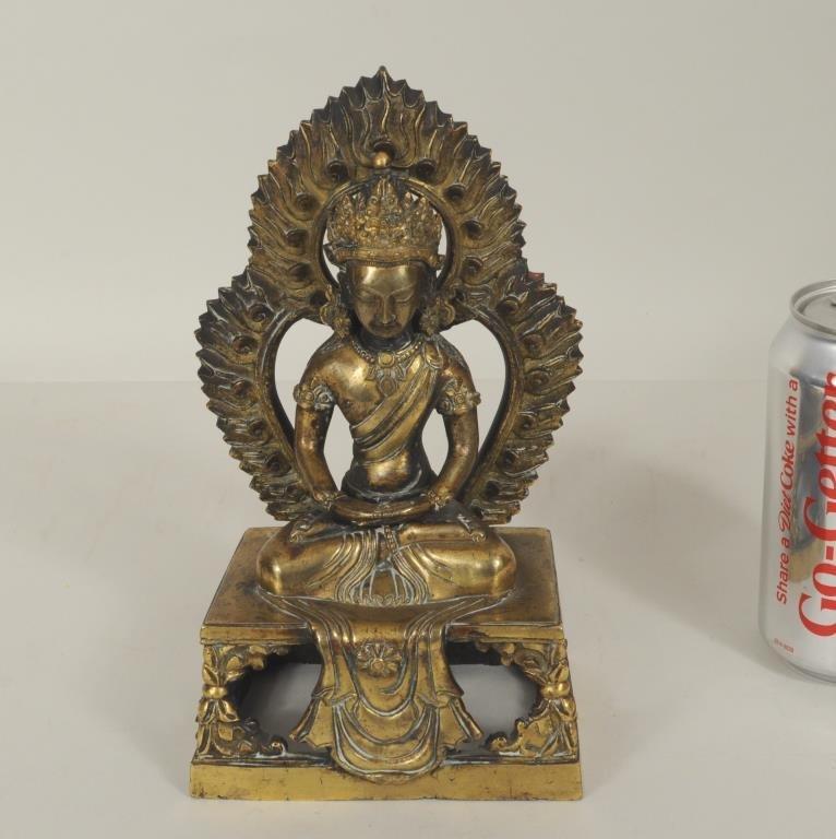 Chinese Gilt Bronze Amitayus Buddha, Signed