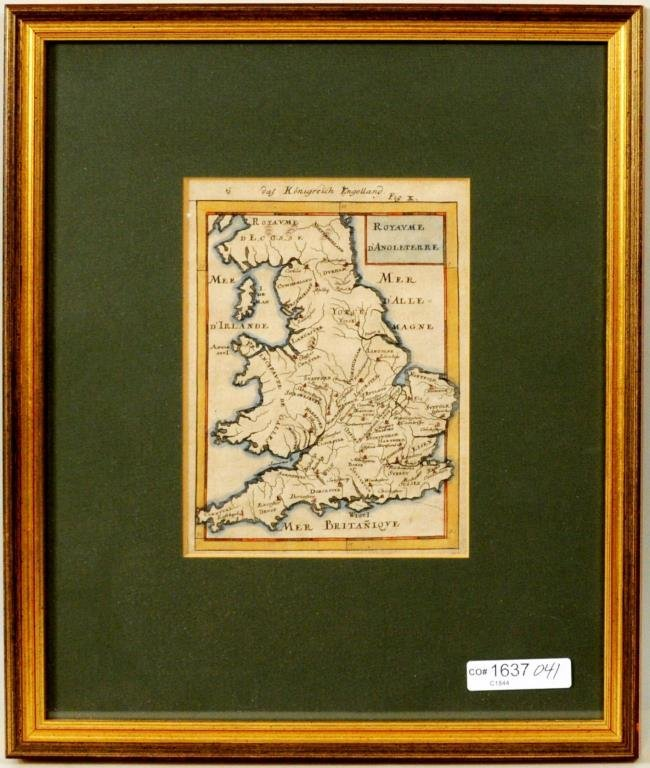 """Early Hand Colored Map """"The Kingdom of England"""""""