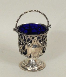 Georgian Pierced Sterling Sweetmeat, Cobalt Liner