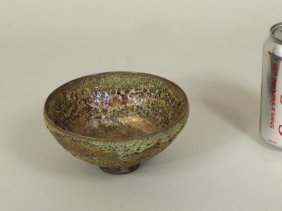 Beatrice Wood Green Volcanic Glaze Bowl, Signed