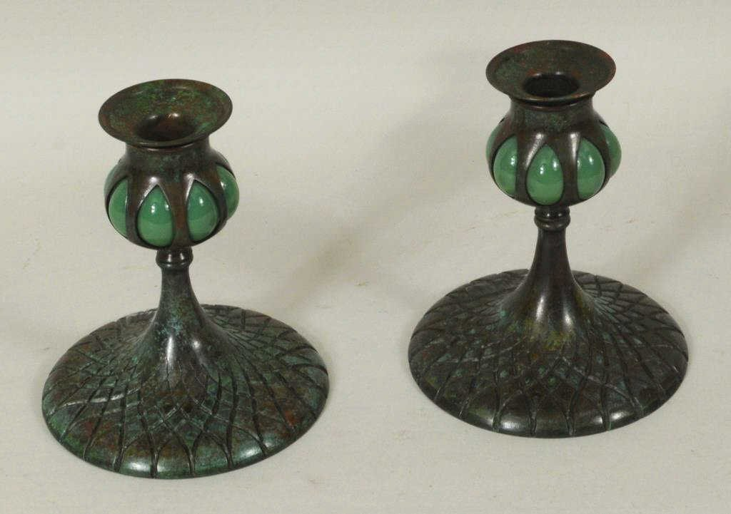 Pair Bronze/Glass Candlesticks Marked Tiffany