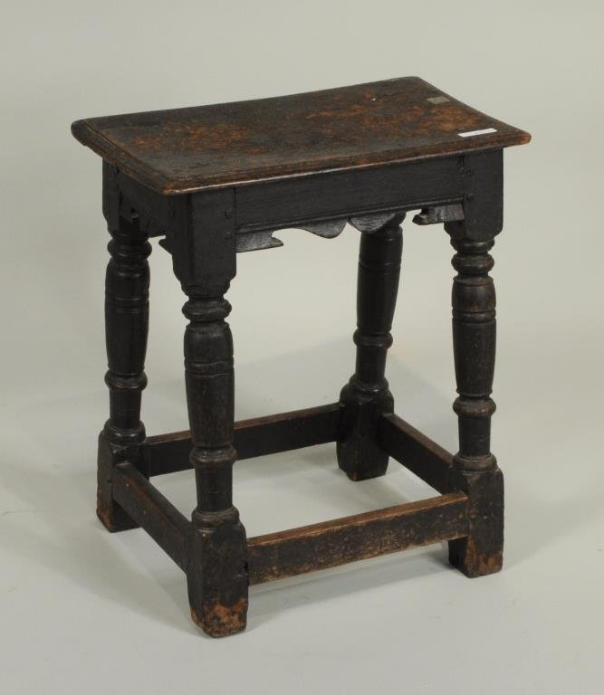Early English Carved Oak Joint Stool
