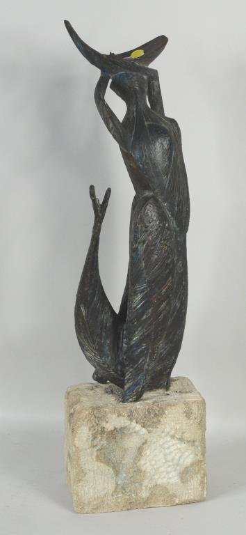 Art Deco Bronze Mermaid Figure