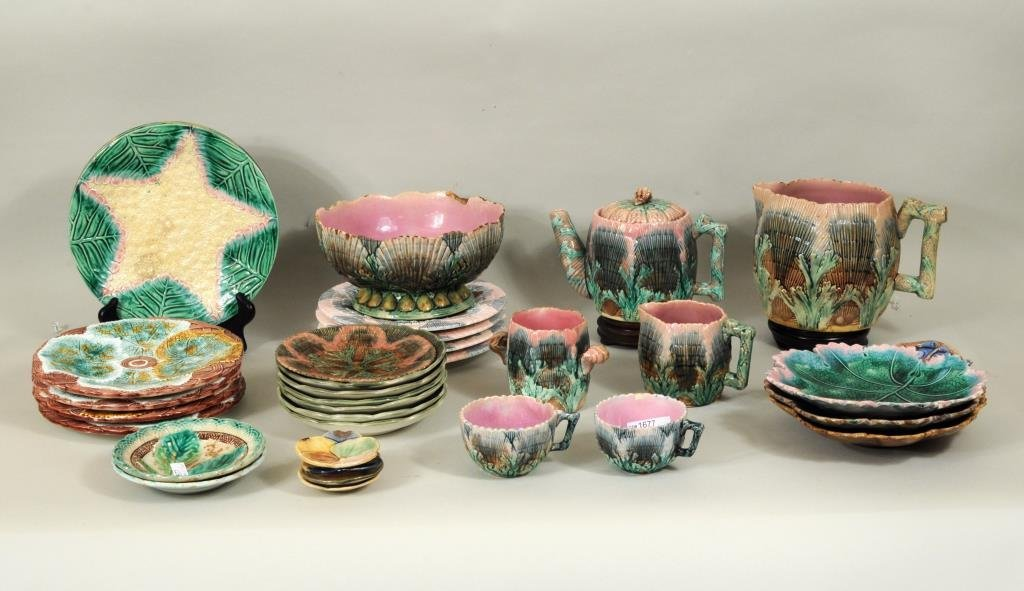 Large Group Etruscan & Other Majolica Items