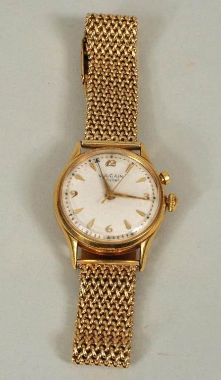 14K Gold Vulcain Cricket Alarm Wrist Watch