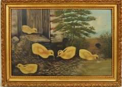 Farmyard Scene With Chicks O/B