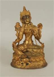 Sino-Tibetan Gilt Bronze Green Tara Figure