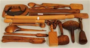 Group Vintage Wooden Kitchen Utensils