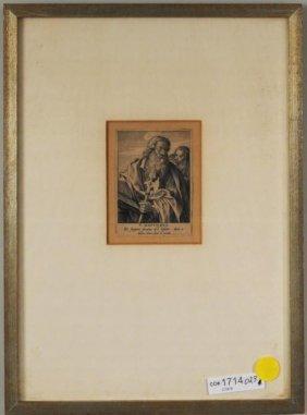 """Anton Wierix III """"St. Matthew"""" Engraving, Signed"""