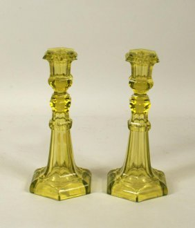 Pair Yellow Vaseline Glass Candlesticks