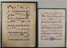 Two Framed Pages Gregorian Antiphonal Sheet Music