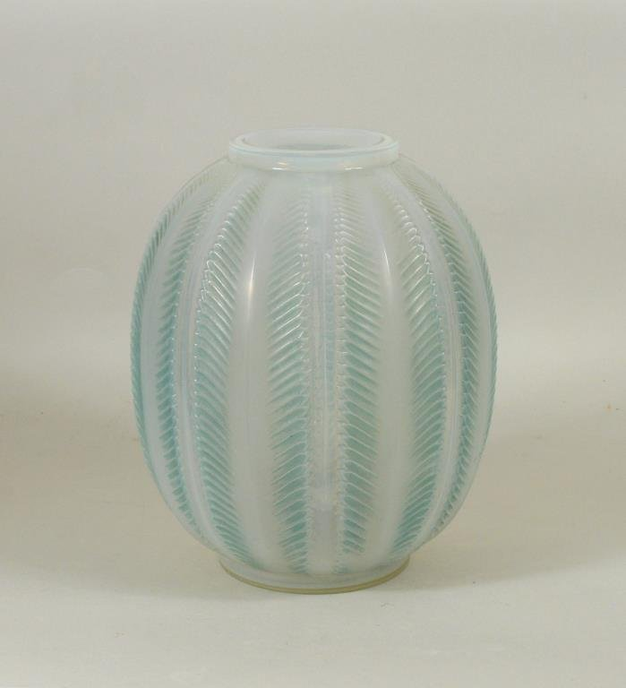 Rene Lalique Opalescent Clear & Frosted Glass Vase