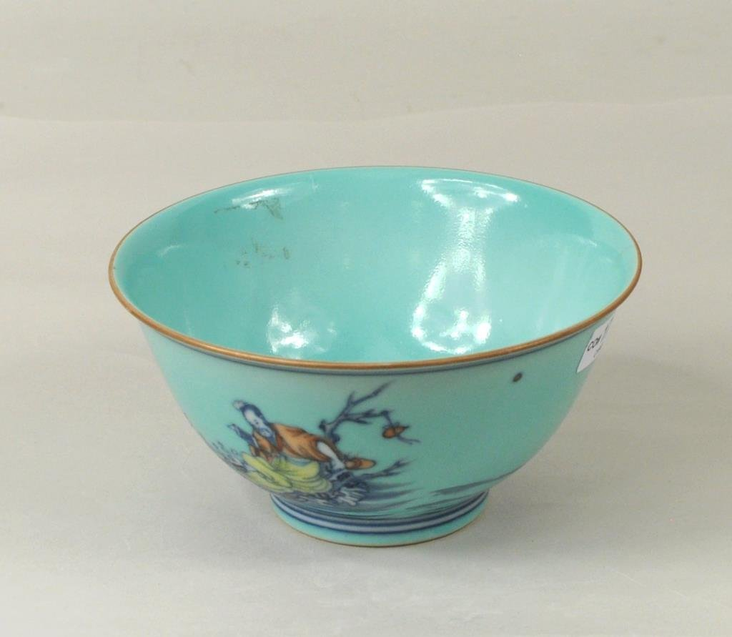 Chinese Porcelain Turquoise Glazed Bowl