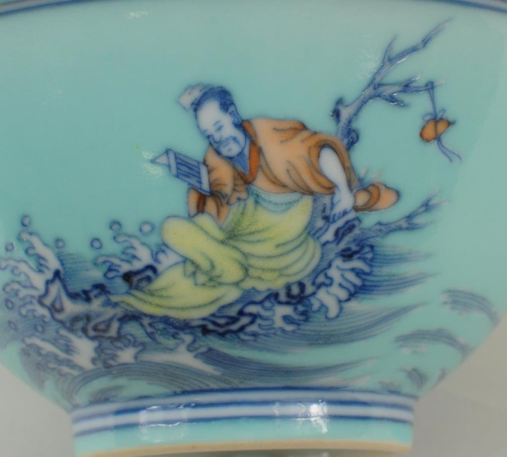 Chinese Porcelain Turquoise Glazed Bowl - 4