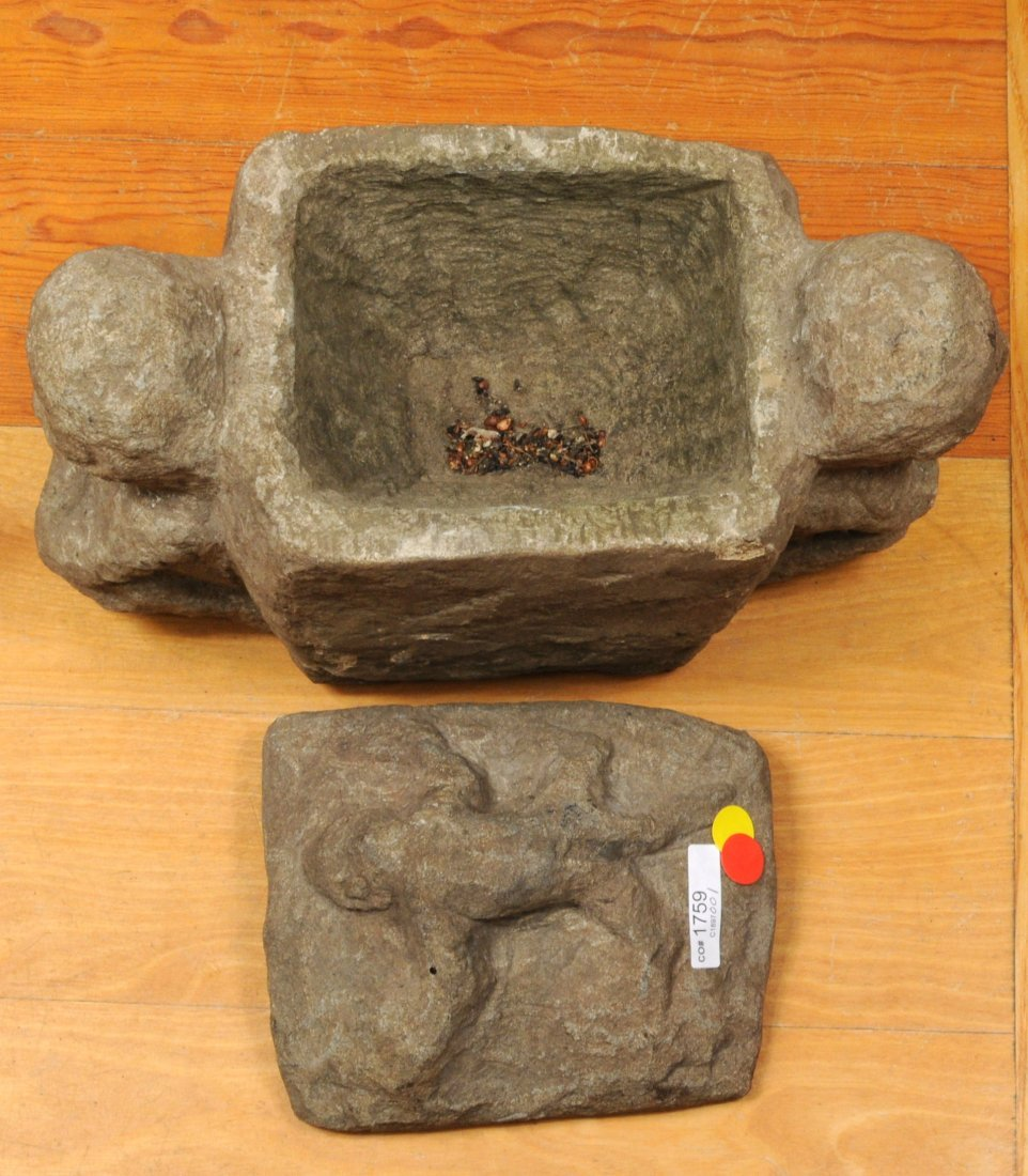 Philippine Ifugao Carved Stone Ritual Offering Box - 6