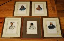 5 Hand Colored Lithographs Native American Chiefs