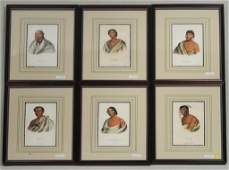 6 Hand Colored Lithographs Native American Chiefs