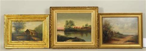Three Small Landscape Paintings 19th Century