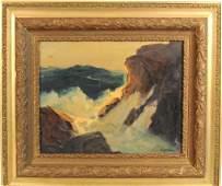 "Philip Shumaker, ""Seascape"", Waves On Rocks"