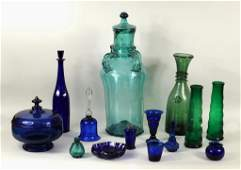 Group Colored Blown Molded Cut  Pressed Glass