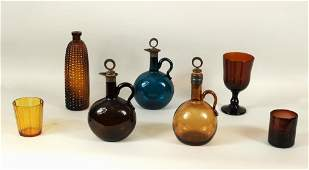Group Blown Molded  Cut Colored Glass Items