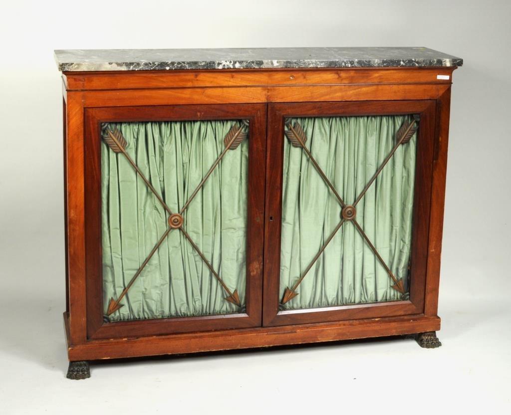 Regency Style Marble Top Side Cabinet