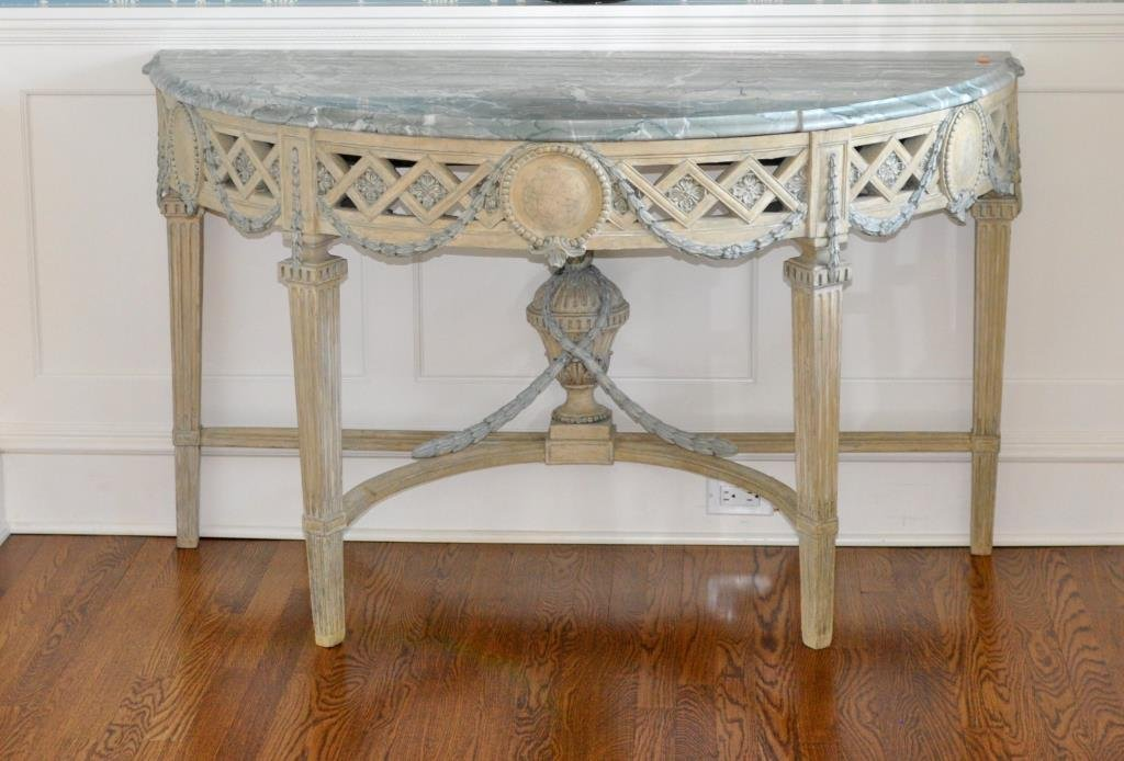 Swedish Neoclassical Marble Top Console Table