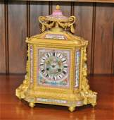 French Gilt Bronze Porcelain Mounted Mantel Clock