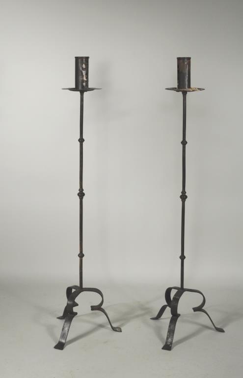 Pair Wrought Iron Torcheres
