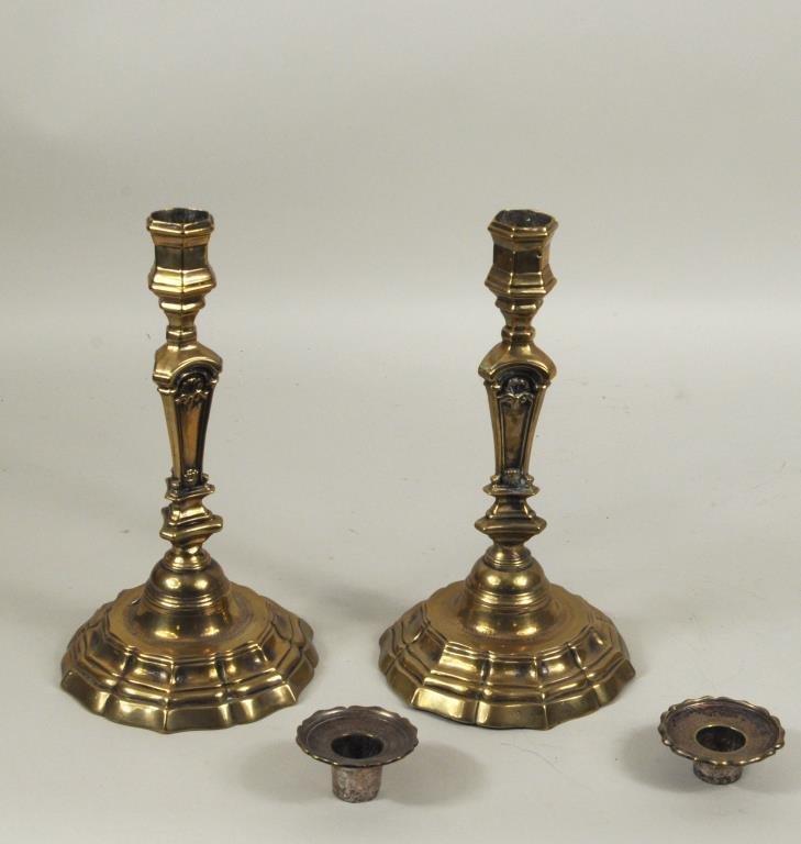 Pair French Brass Candlesticks - 2