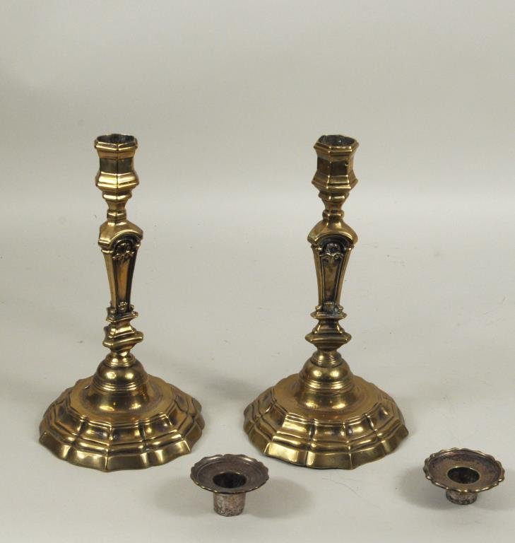 Pair French Brass Candlesticks - 2