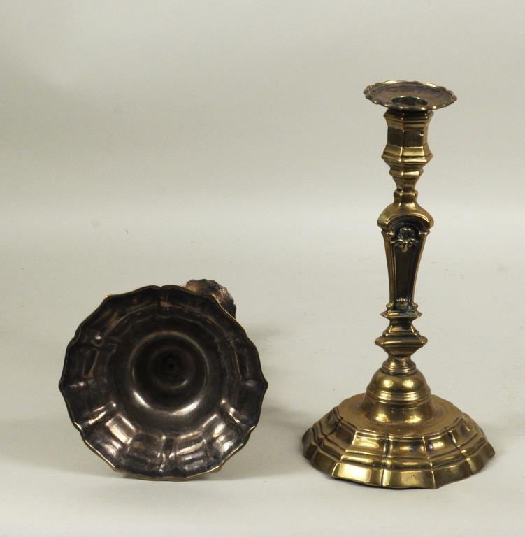 Pair French Brass Candlesticks - 3