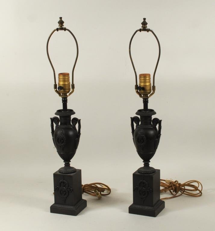 Pair Regency Style Urn Form Patinated Brass Lamps