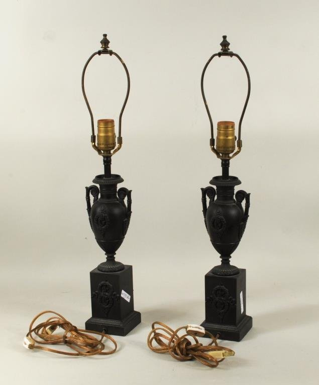 Pair Regency Style Urn Form Patinated Brass Lamps - 2