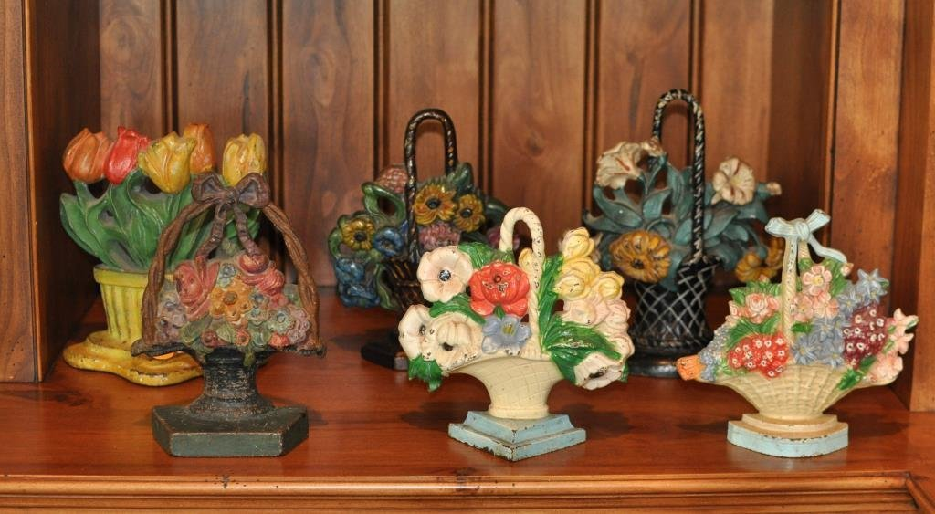 Group 6 Cast Iron Painted Floral Basket Doorstops