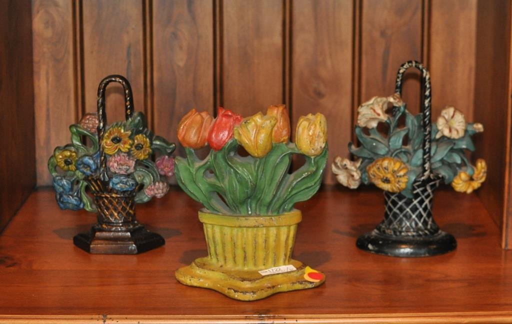 Group 6 Cast Iron Painted Floral Basket Doorstops - 2