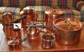 Group Nine Vintage Copper Kitchen Items