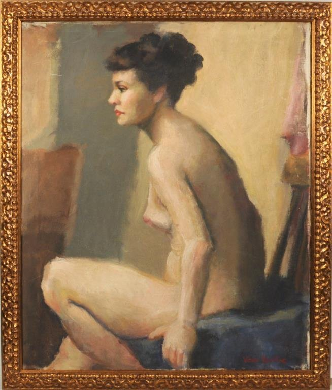 "Vera Rockline ""Nude"" Double Sided Oil On Canvas"